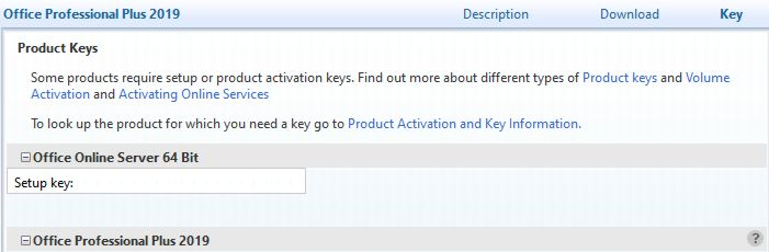 Office 2019 Professional Plus keys heading