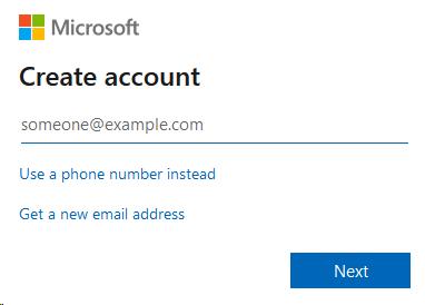 Microsoft Create Account