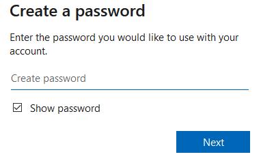 Microsoft create password